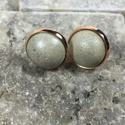 Earrings: Rose Gold Bezel with Concrete