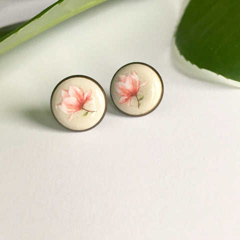Earrings: Magnolia Flower Image w/Bronze Colour Bezel