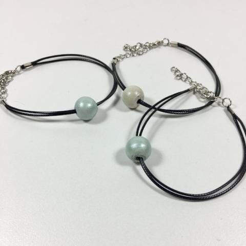 Bracelet- Concrete Bead on Wax Cord