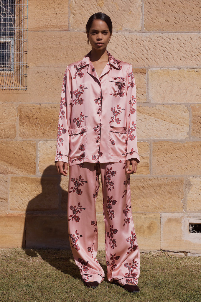 'He loves me' PJ set in Pink Rose