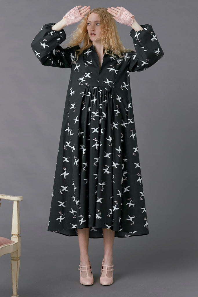 Hibernation Dress in Bird Print