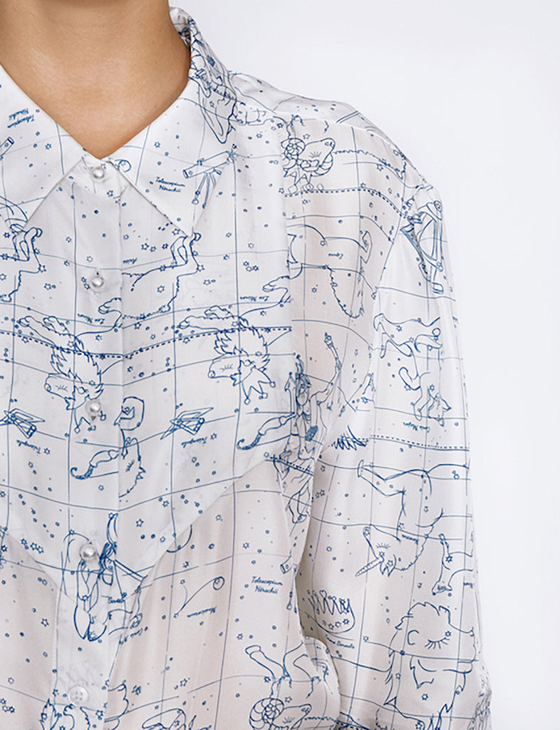 Latitude Blouse in blue print