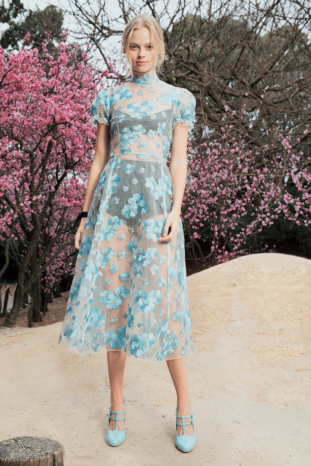 Porcelain Dress in Blue Blossom