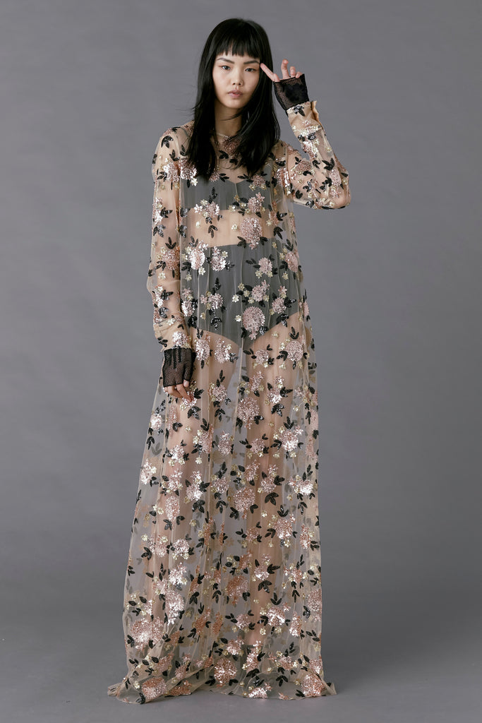 Soiree Dress in floral sequin
