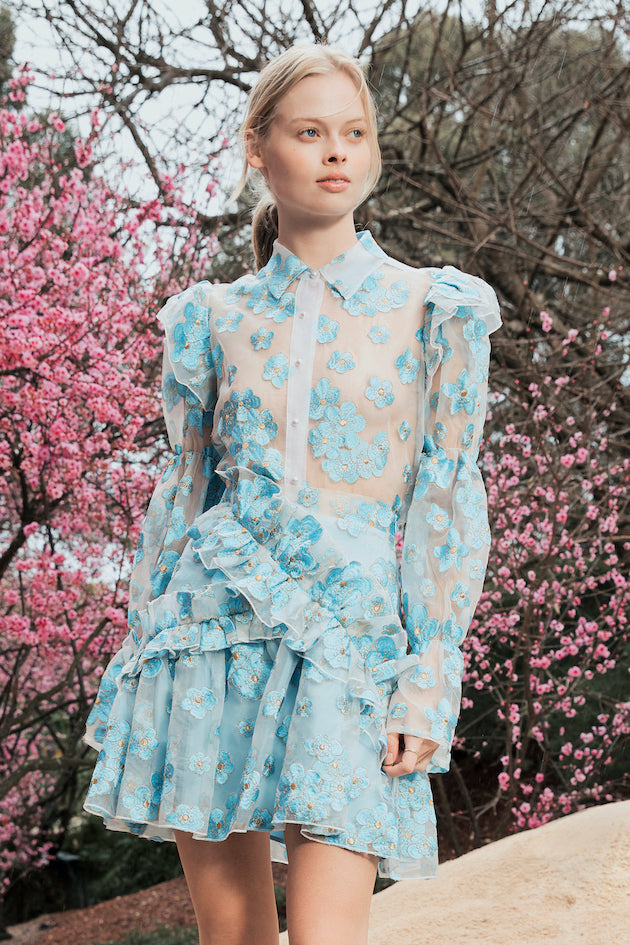 Souffle Blouse in Blue Blossom