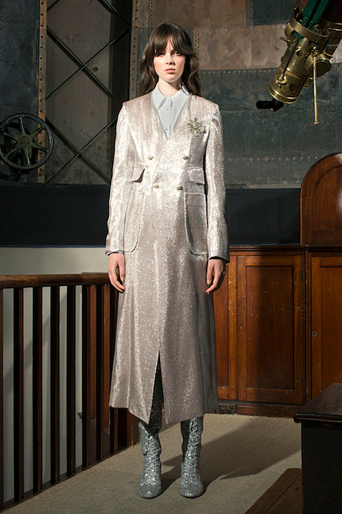 Astronomer Long Blazer in Silver Twill