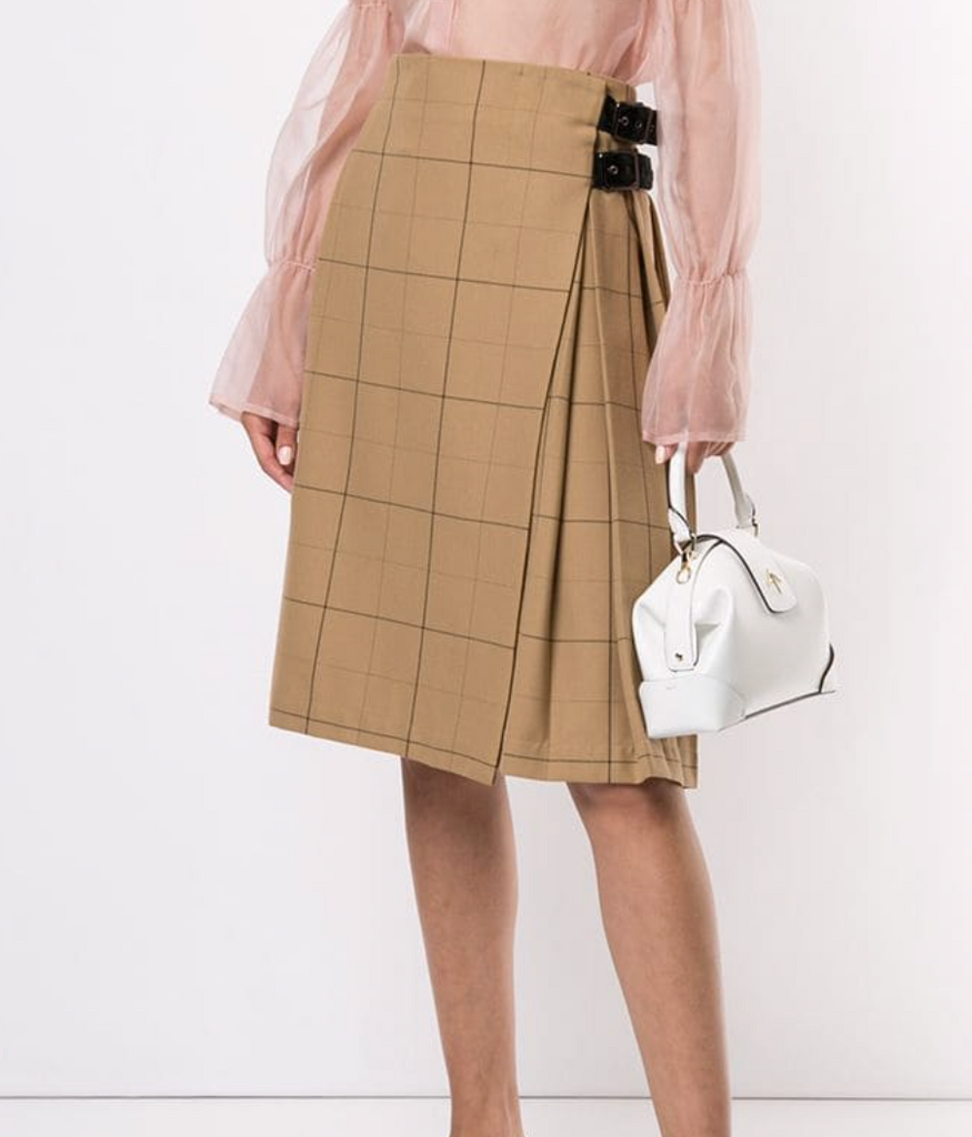 Commentary Kilt in Camel Check