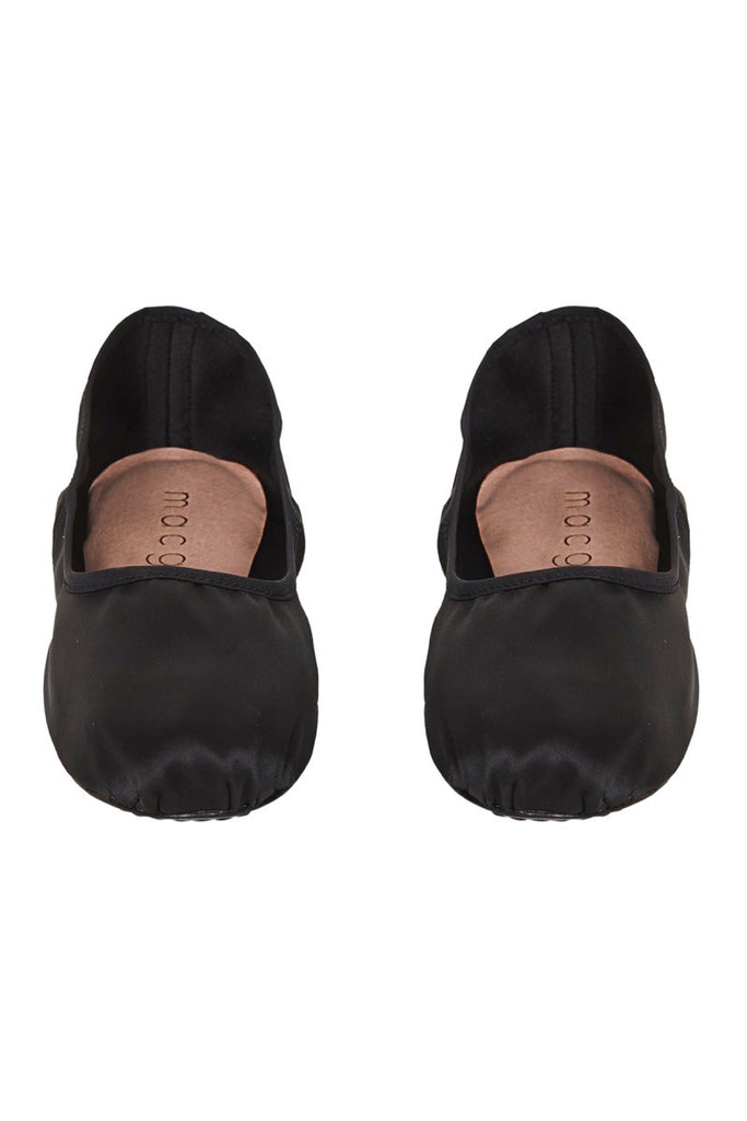 satin house slipper in black