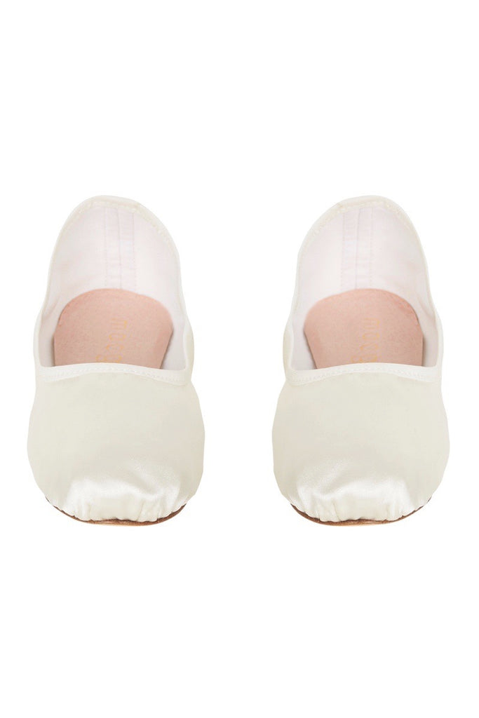 satin house slipper in ivory