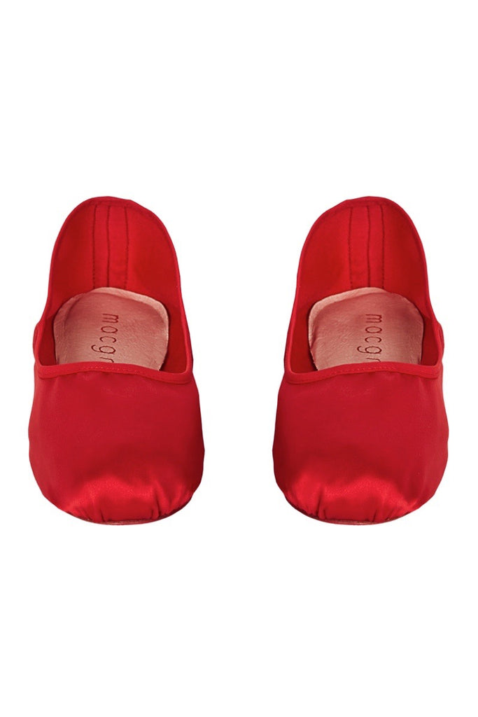 satin house slipper in red