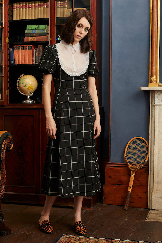 Library Dress in Black Check