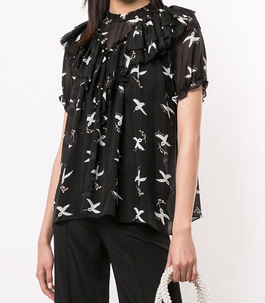 Migration Top in Bird Print