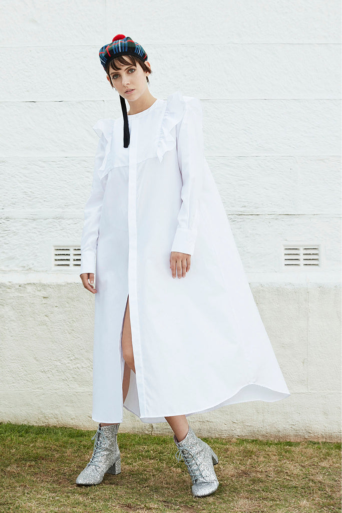 Signal Shirt Dress in White