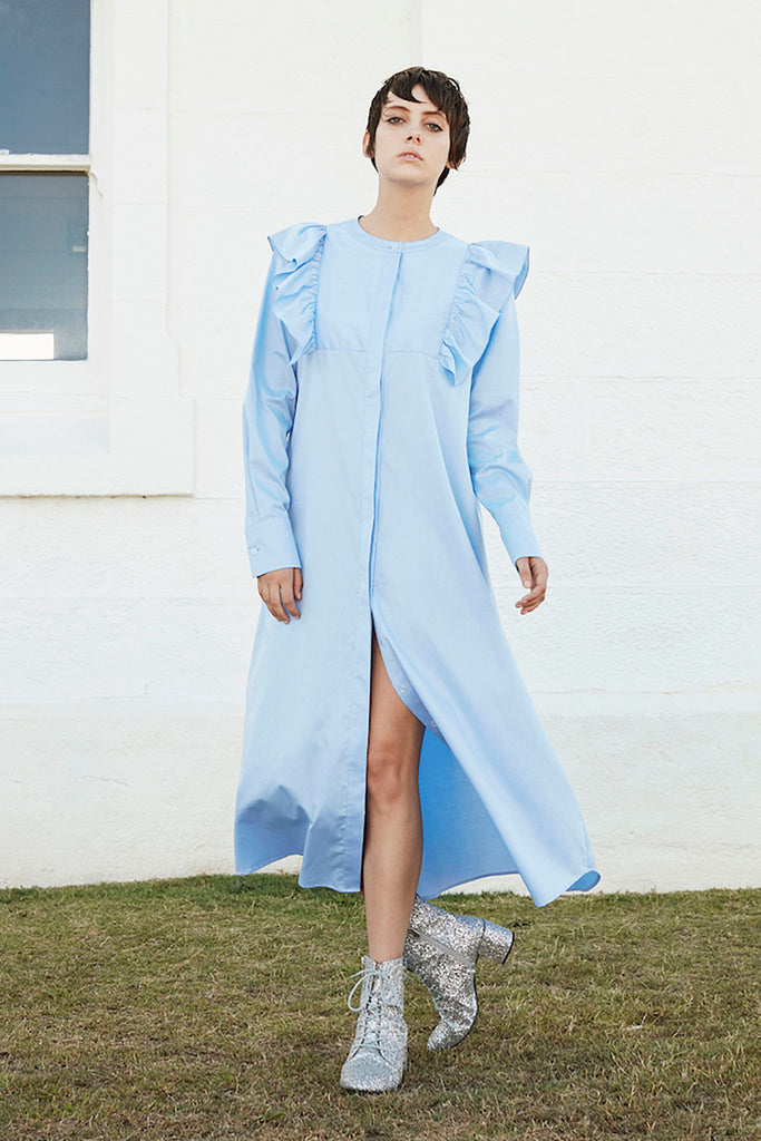 Signal Shirt Dress in Blue