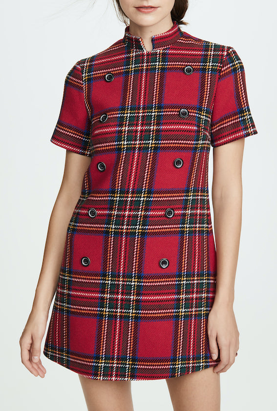 Surrender Shift Dress in Red Check