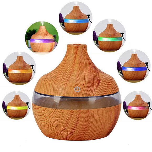 7 Color Changing Cool Mist Purifier Ultrasonic Wood Grain Aromatherapy Humidifier