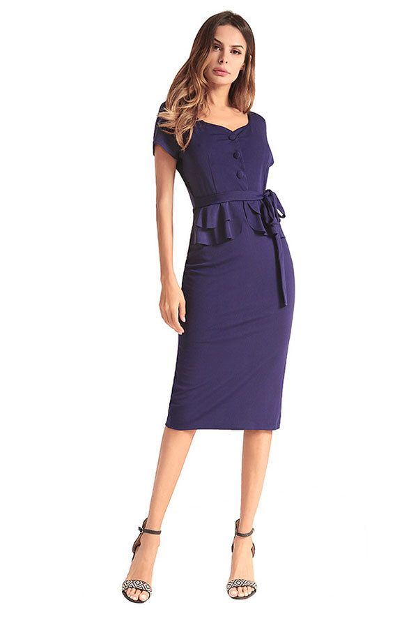 Chic Navy Blue Dress - Bodycon Dress - Midi Dress -  52 - KayaBop 20f52f5fff6b