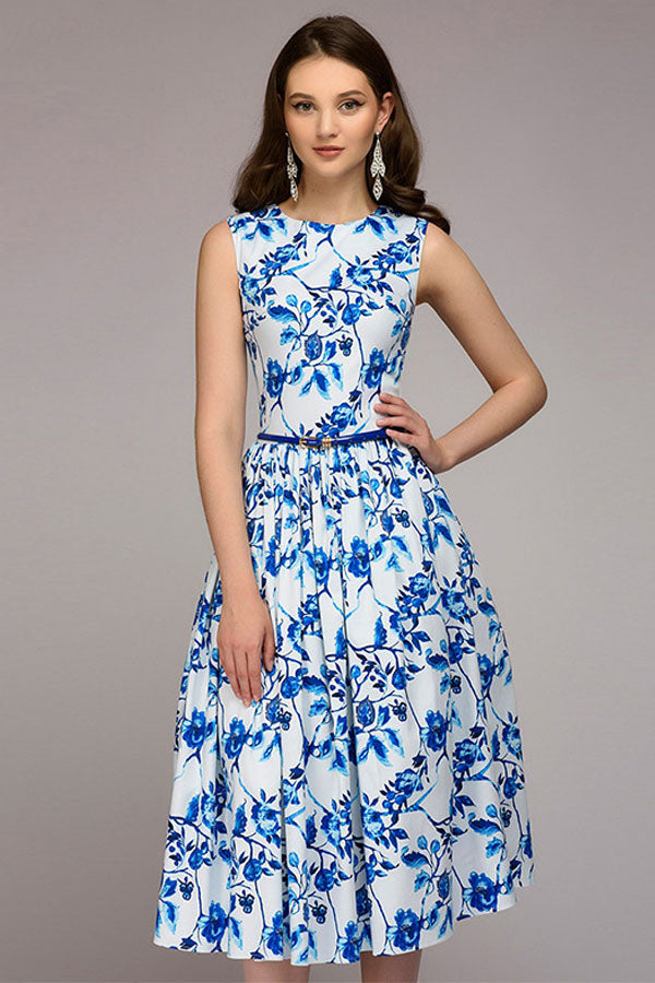 White Dress with Blue Flowers