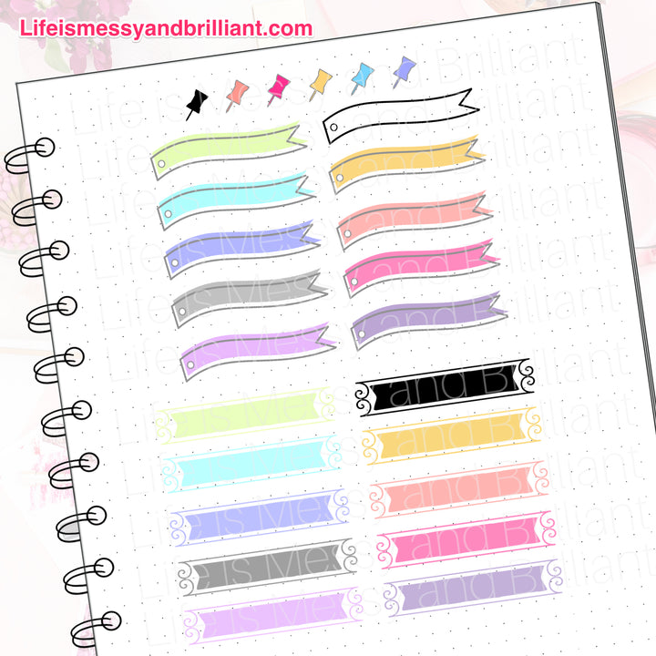 Banners and Notes Digital Planner Stickers, bullet journal stickers, digital planner, digital bullet journal