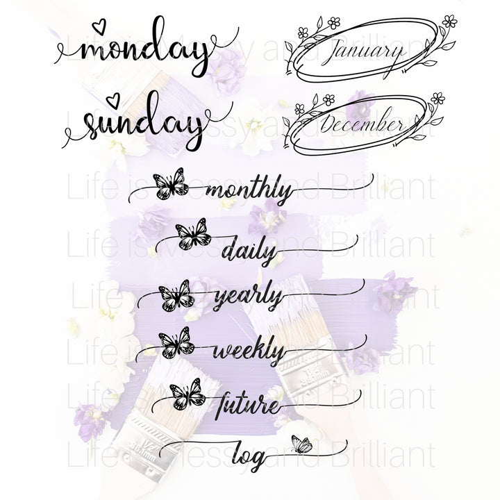 Butterfly and Flowers (Bundle) - Digital Planner Stickers
