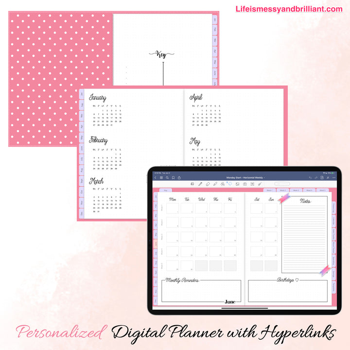 Editable 2021 Digital Planner for iPad and Mac Computer