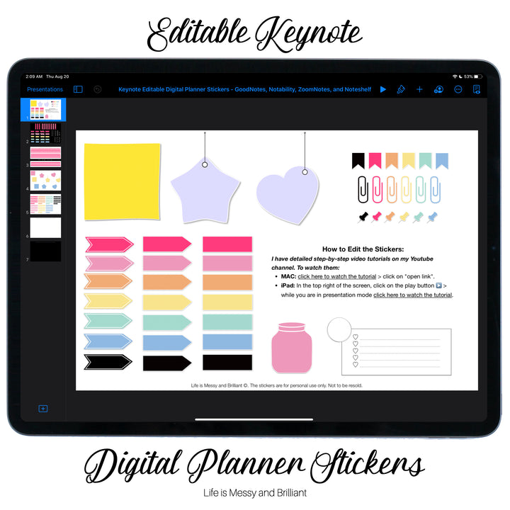 Editable Digital Planner Stickers for Keynote and PowerPoint