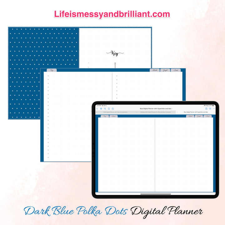 Minimalist Editable Digital Planner with Hyperlinks and Tabs