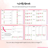 Undated Digital Planner + 4 Editable Weekly Spreads