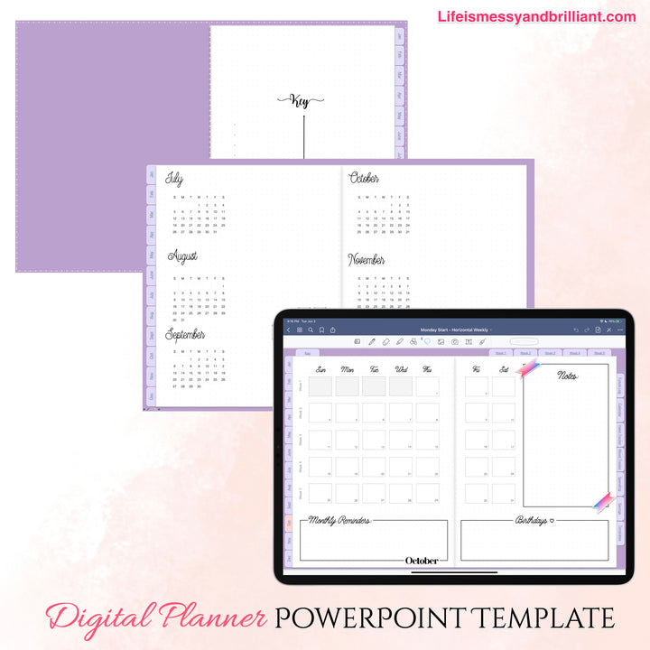 Editable PowerPoint Digital Planner for Windows, Android, and MAC