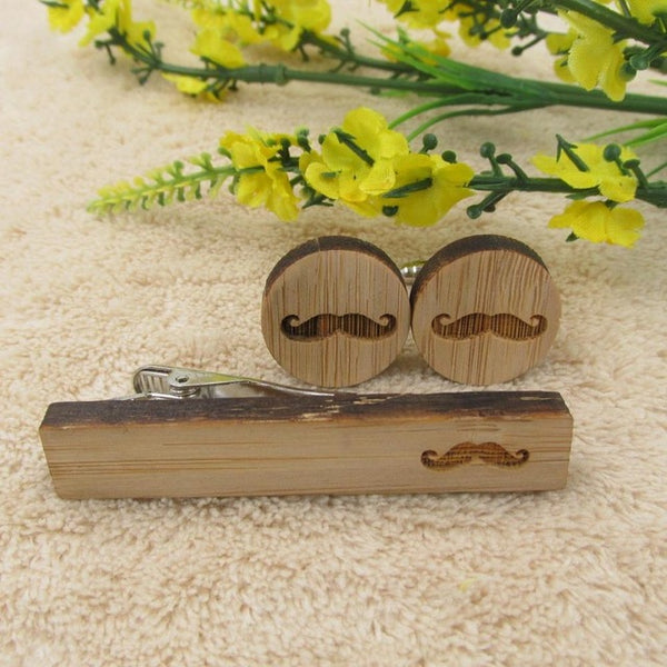 Wood Cufflink & Tie Bar Set - Carved Icons