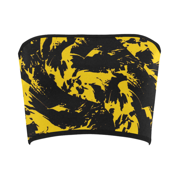 Black and Yellow Paint Splatter Bandeau Top | BigTexFunkadelic