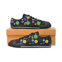 Smiley Face Print Low-Top Women's Canvas Shoes | BigTexFunkadelic