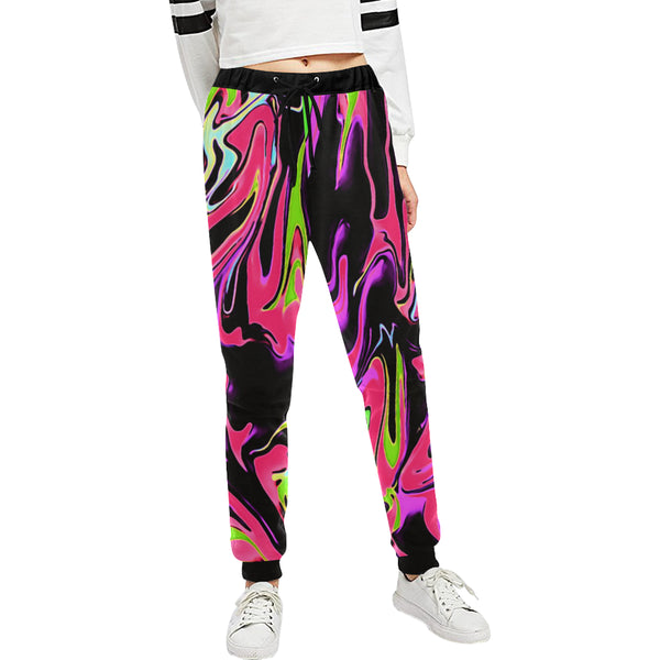 Pink and Black Psychedelic Rave Women's All Over Print Jogger Sweatpants | BigTexFunkadelic