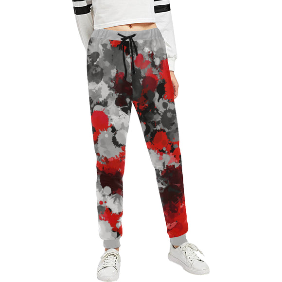 Red and Grey Paint Splatter Women's All Over Print Jogger Sweatpants | BigTexFunkadelic