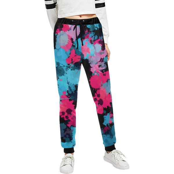 Pink and Blue Paint Splatter All Over Print Women's Jogger Sweatpants | BigTexFunkadelic