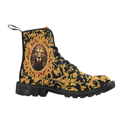 Lion Royalty Baroque Style Men's Black Boots | BigTexFunkadelic