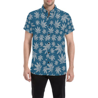 Blue and Grey Weed Pattern Short Sleeve Button Up Shirt | BigTexFunkadelic