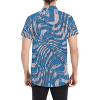 Blue and Grey Psychedelia Print Button Down Short Sleeve Shirt | BigTexFunkadelic