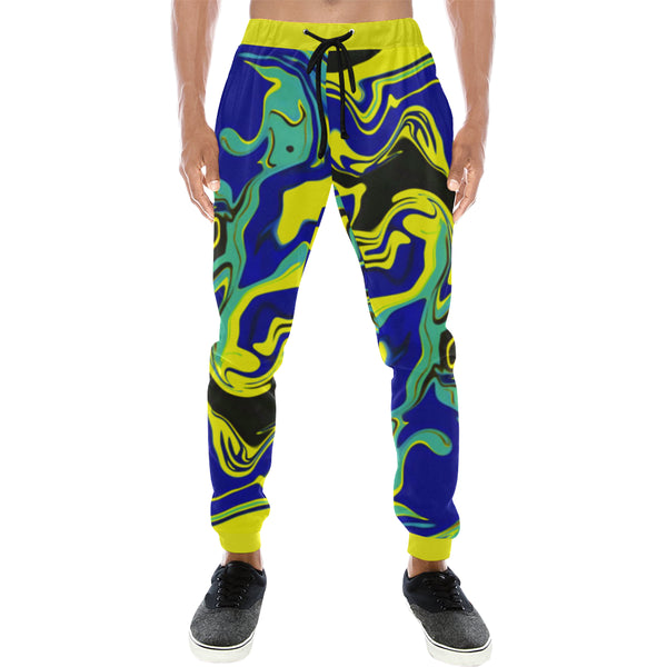 Blue Tang Psychedelic Men's All Over Print Sweatpants | BigTexFunkadelic