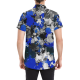 Blue and Grey Paint Splatter Short Sleeve Button Up Shirt