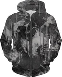 Grey and Black Graffiti Zip-Up Hoodie | BigTexFunkadelic