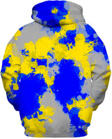 Blue and Yellow Paint Splatter Zip-Up Hoodie | BigTexFunkadelic