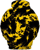 Black and Yellow Paint Splatter Zip-Up Hoodie | BigTexFunkadelic