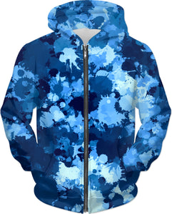 Blue Paint Splatter Zip-Up Hoodie | BigTexFunkadelic
