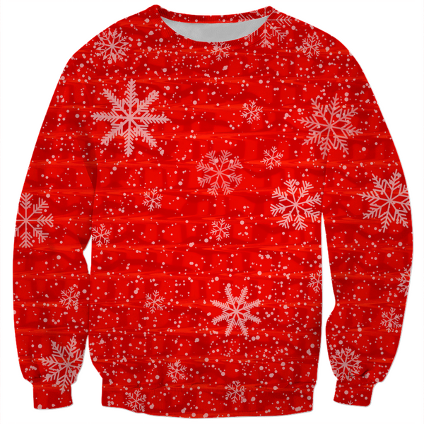 Red Snowflake Holiday Sweatshirt | BigTexFunkadelic
