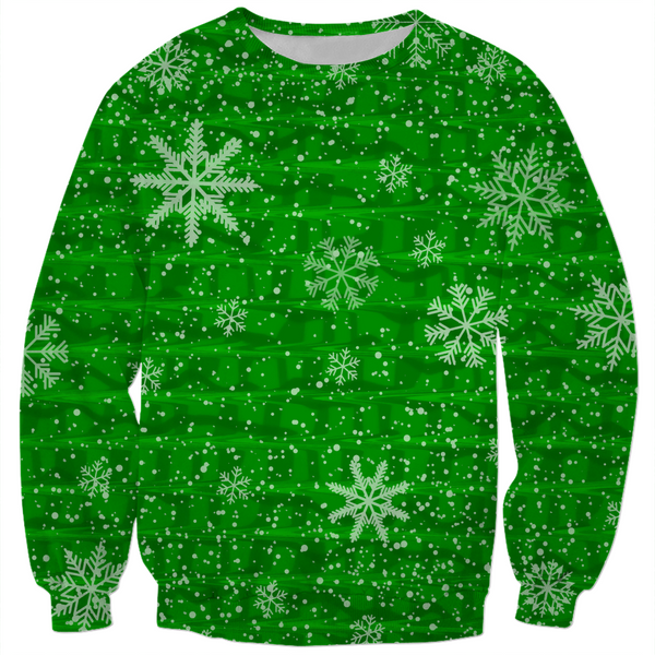 Green Snowflake Holiday Sweater | BigTexFunkadelic