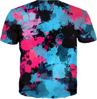 Pink and Blue Paint Splatter T-Shirt | BigTexFunkadelic