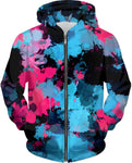 Pink and Blue Paint Splatter Hoodie | BigTexFunkadelic