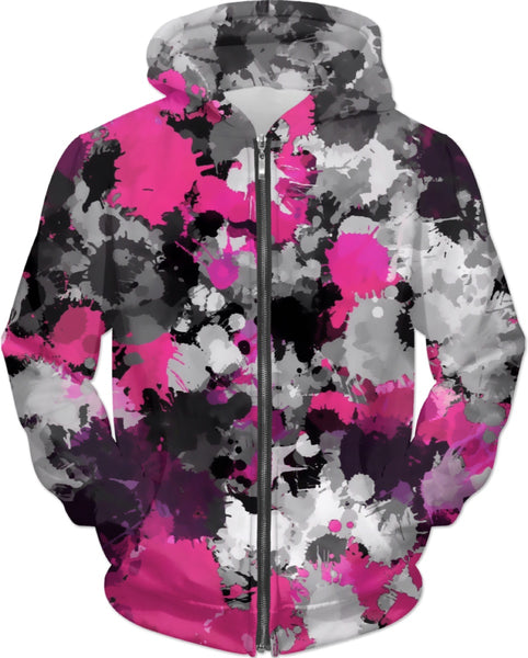 Pink and Grey Paint Splatter Zip-Up Hoodie | BigTexFunkadelic