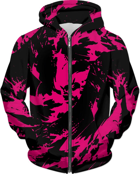 Pink and Black Paint Splatter Zip-Up Hoodie | BigTexFunkadelic